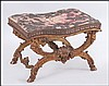A LOUIS XIV STYLE FRENCH GILT GESSO AND WOOD OTTOMAN.