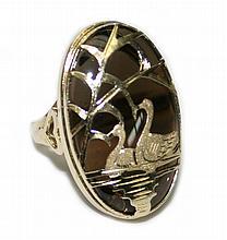 14k Yellow Gold Smoke Topaz Swan Ring