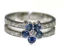 Platinum 0.85 ct Diamond & Sapphire Ring