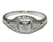Vintage Platinum 0.20 ct Diamond Ring