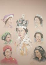 Queen Elizabeth In Various Views By Original Artist Joel Iskowitz  - Color pencil on paper