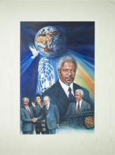 Kofi Annan By Original Artist Joel Iskowitz  - Acrylic on board