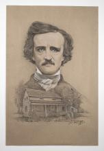 Edgar Allan Poe By Original Artist Joel Iskowitz  - Charcoal and Pastel Pencil