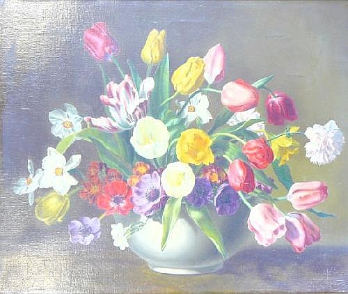 WILF WALKER STILL LIFE - FLOWERS IN VASE SIGNED