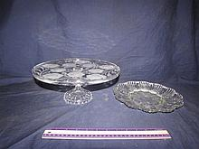 CLEAR GLASS CAKE PLATE & EGG PLATE
