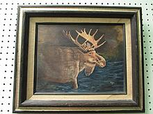 ALLAN ORIGINAL OIL ON CANVAS  ELK SCENE