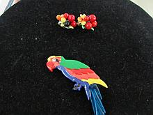 CLIP-ON TROPICAL EARRINGS & PIN SET (2)