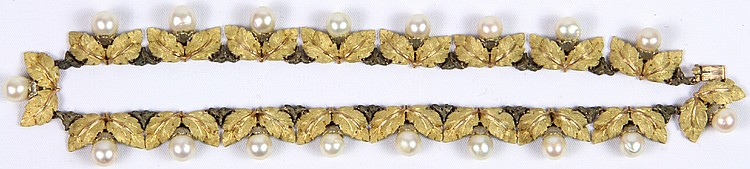 Mario Buccellati 18K Yellow Gold, White Gold and Pearl Necklace