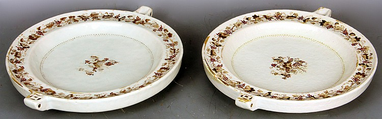 Pair of Chinese Hot Water Plates, 19th century export