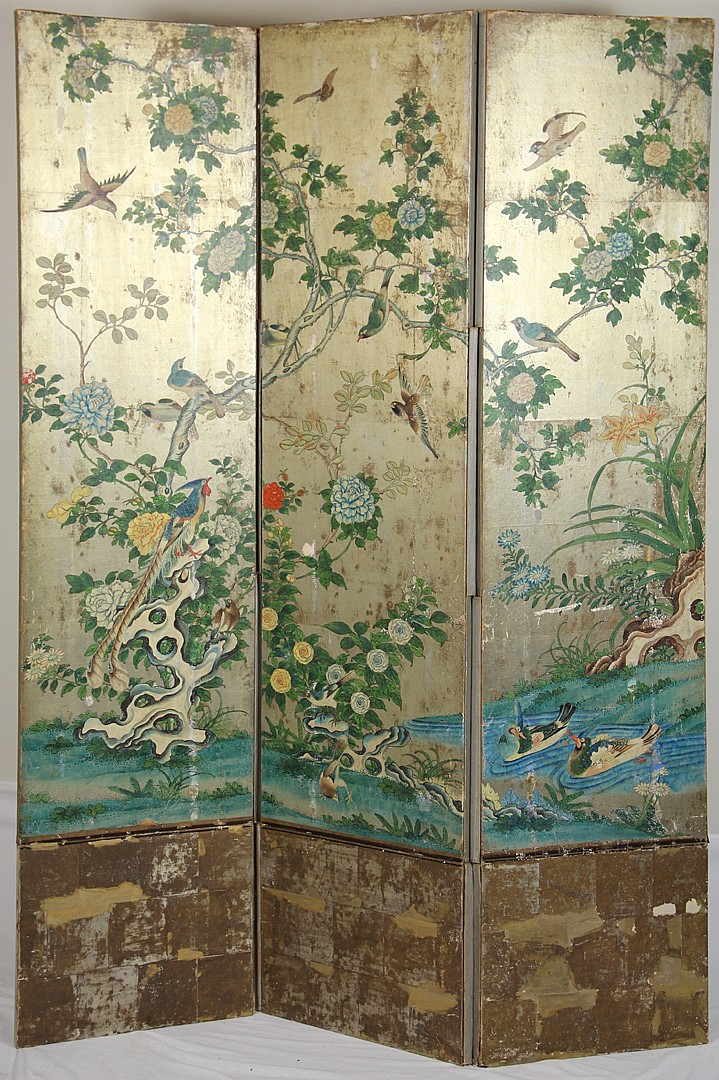 20th century Chinese Three Panel Screen