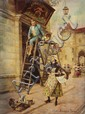Alonzo Perez oil on panel painting of a street scene