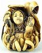 Ivory Katabori Netsuke of a Beautiful Maiden