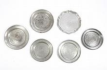 Six Pewter Plates, one marked German