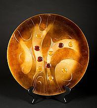 Sasha Brastoff, (1947-1973), CA, Modern Abstract Mixed Media Charger