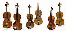 Six Violins, all need work-parts lot