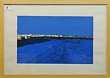 Lisa Martin:   1 limited edition print, by Lisa Martin, 'New Zealand in Blue' 1/3, framed and glazed