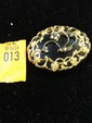 Estate Gold and Onyx Victorian Pin with Pearls