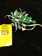 Estate 18kt White Gold with Emerald Stones Ladies Pin