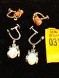 Estate 10kt Gold Ladies Opal Earrings, 14kt Gold Coral Earrings