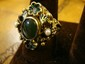Estate 14kt Gold Ring with Emerald Center and Pearls