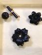Estate Black Color Ladies Pins with Gold Backs