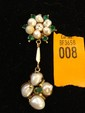 Estate Gold Ladies Pin with Emeralds and Pearls