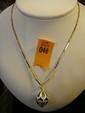 Estate 14kt Gold 22 Inch Necklace with Enamel Egg Pendant