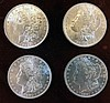 4 Morgan Silver Dollars, Brilliant Uncirculated