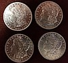 4 1881-O Morgan Silver Dollars, Brilliant Uncirculated