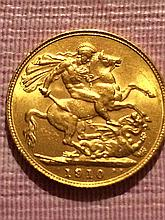 1910 Gold British Sovereign