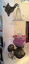 Chimney Lamp with Cranberry Glass Globe