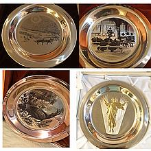 4 Sterling Silver Franklin Mint Plates