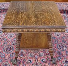 Ball and Claw Antique Super Oak Parlor Table
