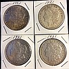 4 1921 Morgan Silver Dollars