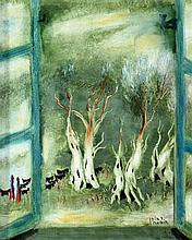 Reuven Rubin 1893 - 1974 - Olive Trees through a Window