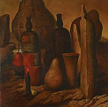 Samuel Bak b. 1933 - Bottles and Pears