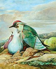 Samuel Bak b. 1933 - Bird and Pears