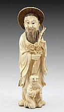 Elder and child, Japanese ivory figurine