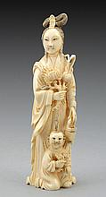 Woman and child, Chinese ivory figurine