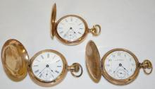 Three Waltham Hunting Case Pocket Watches, 2 18S and 1 16S, one floral and bird decorated