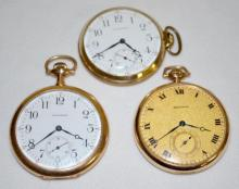 Three Waltham 17J 10S OF SW DMK Pocket Watches in Yellow Cases, All Running