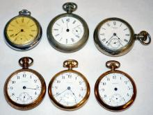Six Waltham Pocket Watches For Parts, All OF 15-17J 16-18S