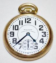 Waltham Vanguard 23J 16S OF LS at the 11 Pressed Jewels Adj. 6 Pos. DMK Pocket Watch with Serial No. 31322990