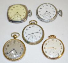 Five Elgin 12S OF Pocket Watches
