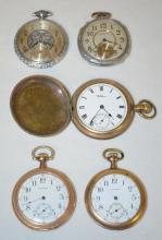Five Waltham Pocket Watches: 1 16S, 4 smaller, all OF, none running