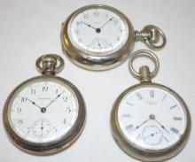 Three Silveroid Cased Waltham Pocket Watches