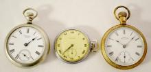 Three Waltham Pocket Watches, One with Train Engine