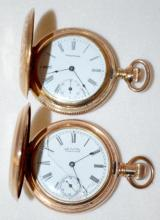 Two Waltham 0S Hunting Case Pocket Watches