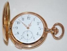 Swiss-Themed 14K Hunting Case Repeating Pocket Watch