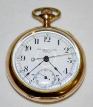 Waltham 1908 Royal 17J Chronograph 18S OF LS Pat. MAR 22-04 with start/stop and return and Serial No. 5527024 with Horse Head